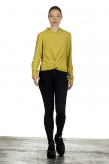 The Swiss Label Damen Drapiertes Langarm Shirt gelb