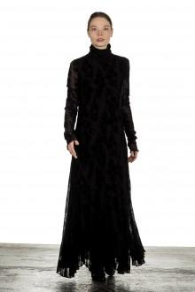 FUZZI Damen Maxikleid mit Blumenstickerei schwarz