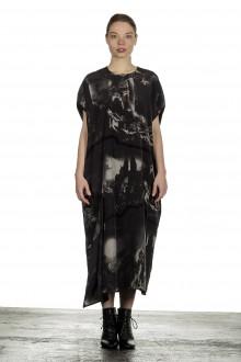 Y's Yohji Yamamoto Damen Avantgarde Midi-Kleid mit grafischem Print anthrazit