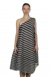 Pleats Please Issey Miyake One-Shoulder-Kleid mit Print schwarz weiß