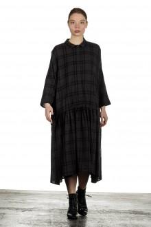 Apuntob Damen Avantgarde Hemdblusenkleid mit Karomuster anthrazit