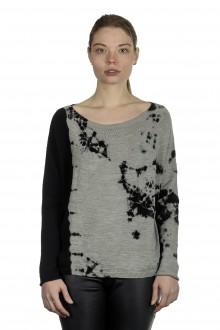 Suzusan Damen Pullover FRAGMENT schwarz grau