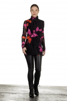 FUZZI Damen Rollkragen Langarmshirt mit Blatt-Print mehrfarbig