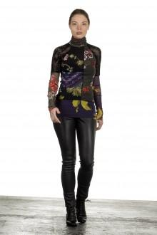 FUZZI Damen Rollkragen Langarmshirt mit Blumen-Print mehrfarbig