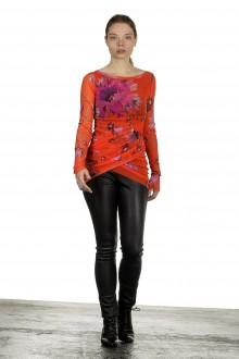 FUZZI Damen gerafftes Langarmshirt mit Blumen-Print mehrfarbig