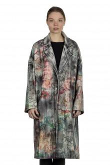 AVANT TOI Damen Ausgeblichener Mantel mit Blumen-Print mehrfarbig