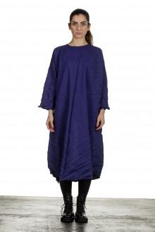 Issey Miyake Crashed Avantgarde Damen Midi-Kleid blau
