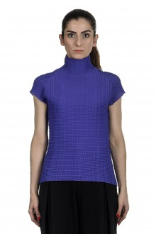 Issey Miyake Avantgarde Damen Plissé Top mit Stehkragen blau