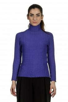 Issey Miyake Damen Avantgarde Plissé Langarm Shirt mit Stehkragen blau