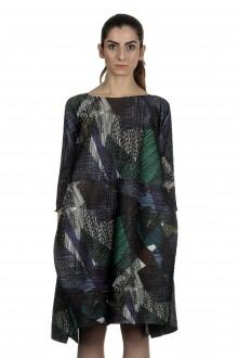 Pleats Please Issey Miyake A-Linien Kleid Longsleeve Print multicolor