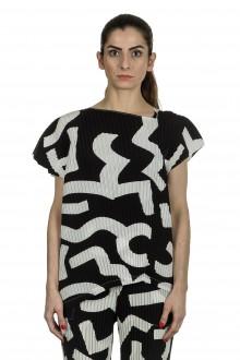 Issey Miyake Damen Plissee Top Print schwarz weiß
