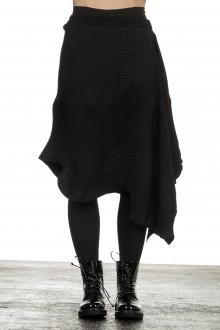 Issey Miyake Damen Avantgarde asymmetrischer gestrickter Rock schwarz