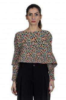 Issey Miyake Plissee Damen Crop-Longsleeve Shirt mehrfarbig