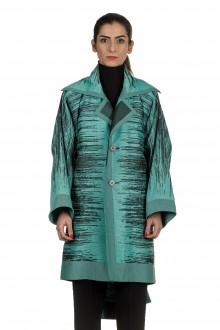 Issey Miyake Damen geflochtener Oversized Mantel türkis