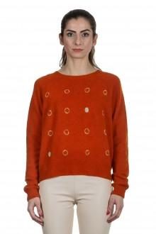 Suzusan Damen Kaschmir Rundhals Pullover orange grau