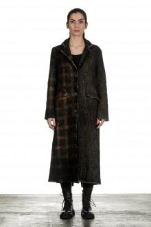 AVANT TOI Damen Mantel lang Fischgrät Muster olive