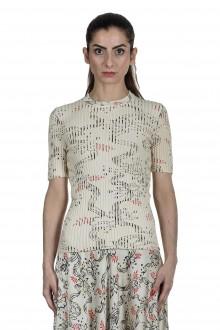 Paco Rabanne Damen gerippter Pullover mit Print mehrfarbig