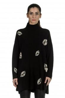 Suzusan Damen Kaschmir Oversize Rollkragenpullover LEAVES schwarz grau