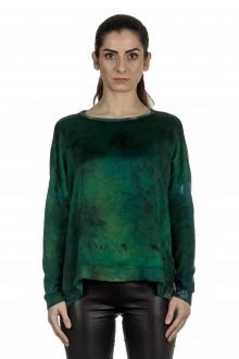 Avant Toi Damen Langarm Pullover aus Seidenmischung grün