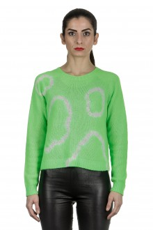Suzusan Damen Kaschmir Pullover in Batikoptik grün weiß