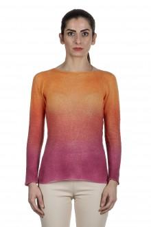 F Cashmere Pullover mit Farbverlauf orange pink