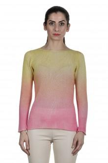 F Cashmere Pullover mit Farbverlauf gelb pink