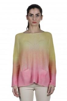 F Cashmere Oversized Pullover mit Farbverlauf gelb rose