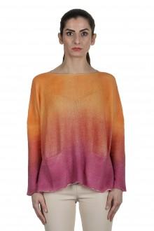 F Cashmere Oversized Pullover mit Farbverlauf orange pink