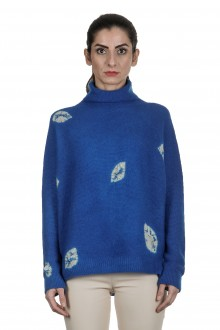 Suzusan Damen Kaschmir Oversize Rollkragenpullover LEAVES blau grau