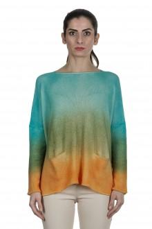 F Cashmere Damen Oversized Pullover mit Farbverlauf türkis orange
