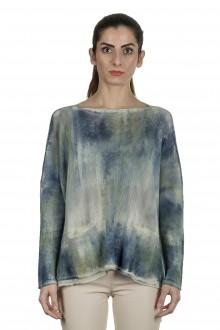 F Cashmere Damen Oversized Pullover blau multicolor