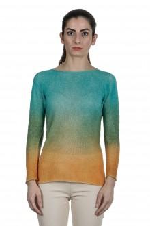 F Cashmere Damen Pullover mit Farbverlauf türkis orange