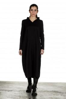 Yukai Damen Kleid Asymetrisch mit Kapuze schwarz