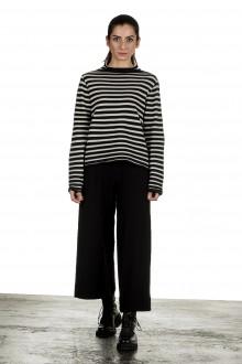 Yukai Damen Pullover mit Stehkragen gestreift schwarz weiß