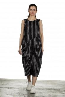 Yukai Damen Trägerkleid Asymetrisch mit Streifen schwarz