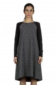 Schella Kann 2 Damen Stretch Kleid mit Print schwarz grau