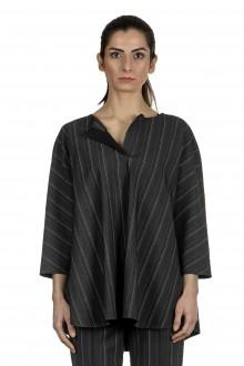 Schella Kann 2 Damen Bluse in A-Form mit Nadelstreifen anthrazit