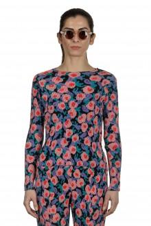 Issey Miyake Damen Plissé Langarm Shirt mit Print mehrfarbig