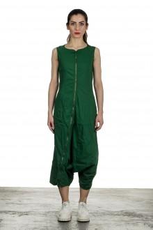 Rundholz Dip Damen Overall mit asymmetrischem Reißverschluss grün