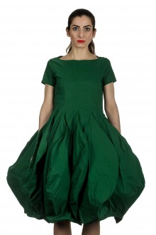Rundholz Dip Damen Kleid mit Ballonrock grün