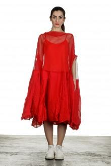 Rundholz Dip Damen Oversized Tüllkleid mit Volants rot