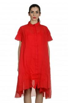 Rundholz Dip Damen Hemdblusenkleid in A-Linie rot