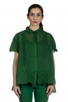 Rundholz Dip Damen Bluse in A-Linie grün