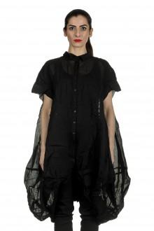 Rundholz Dip Damen gerafftes Hemdblusenkleid schwarz
