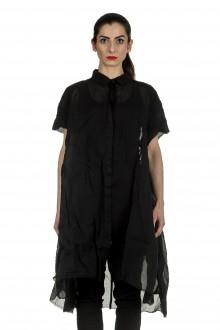 Rundholz Dip Damen Hemdblusenkleid in A-Linie schwarz