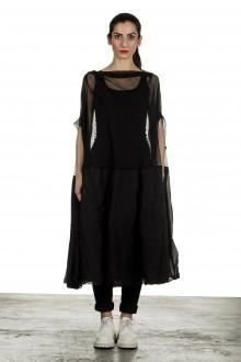 Rundholz Dip Damen Oversized Tüllkleid mit Volants schwarz
