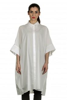 Rundholz Damen Hemdblusenkleid in A-Linie weiß