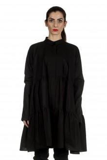 Rundholz Damen ausgestelltes Hemdblusenkleid mit Raffung schwarz