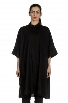 Rundholz Damen Hemdblusenkleid in A-Linie schwarz