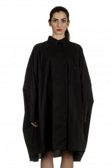 Rundholz Damen Hemdblusenkleid in Cape-Form schwarz